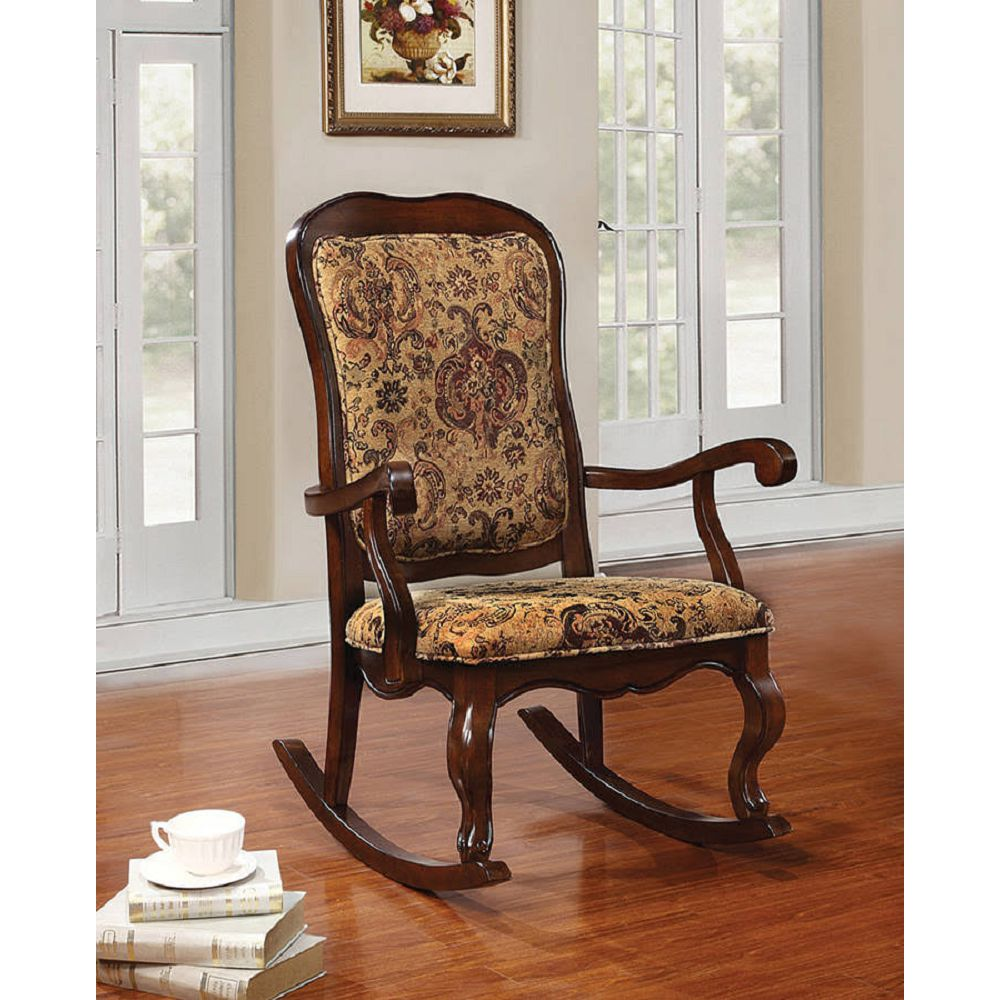 Wooden Rocking Chair Patio Chair Tall Backrest in Fabric & Cherry BH59390