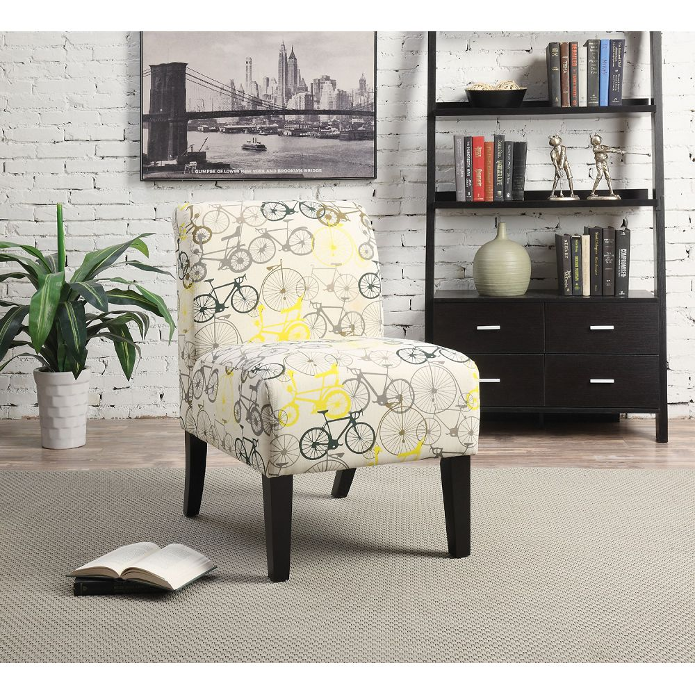 Bisque Pattern Fabric Upholstered Armless Accent Chair Club Chair BH59438 BH59504