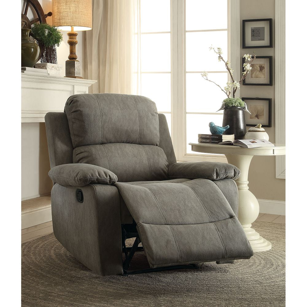 Recliner (Motion) in Gray Polished Microfiber