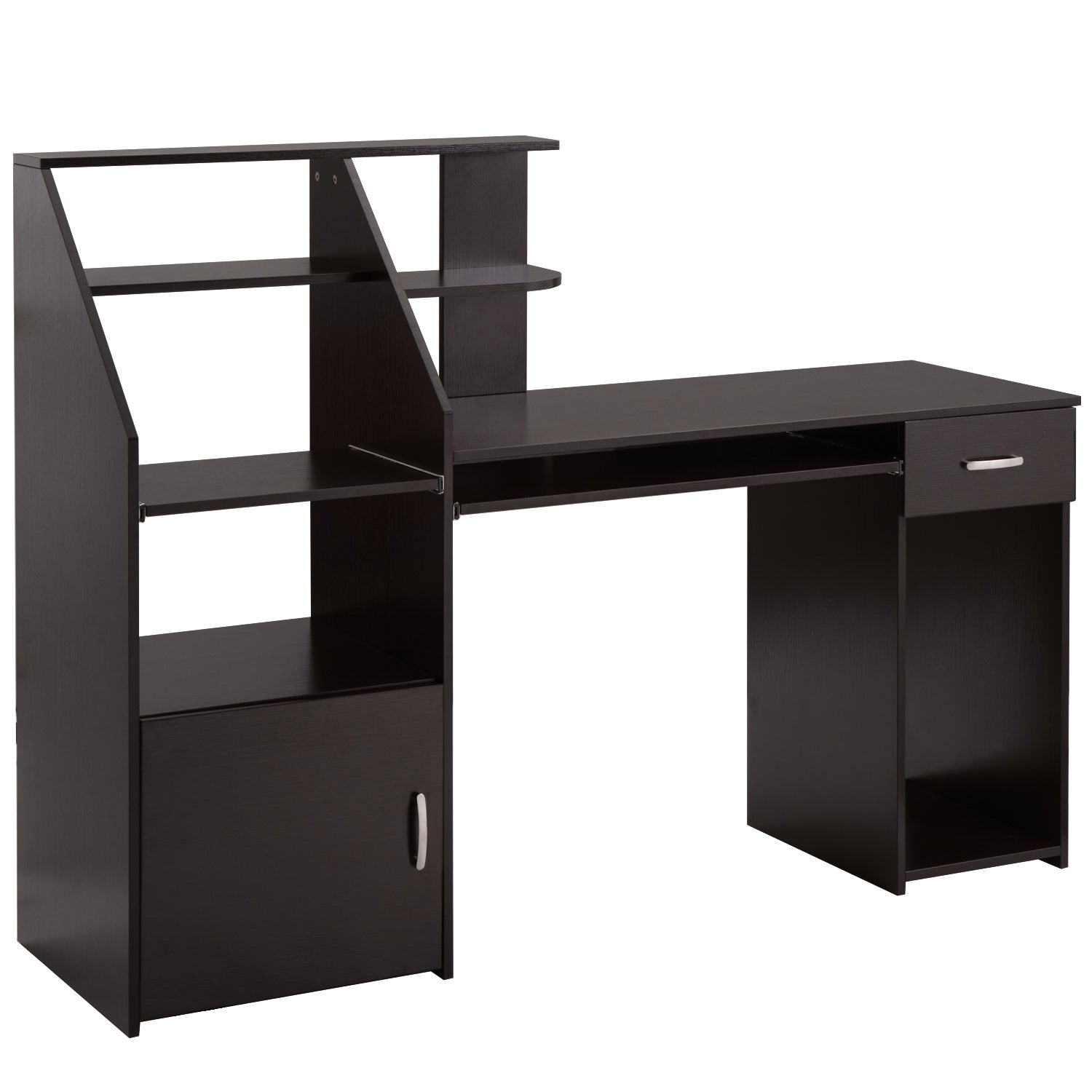 Black Multi-Functions Computer Desk with Cabinet Espresso BH186907
