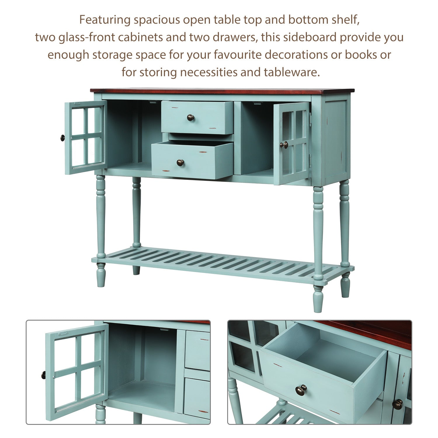 Light Steel Blue Sideboard Console Table with Bottom Shelf, Farmhouse Wood/Glass Buffet Storage Cabinet Living Room BH193444