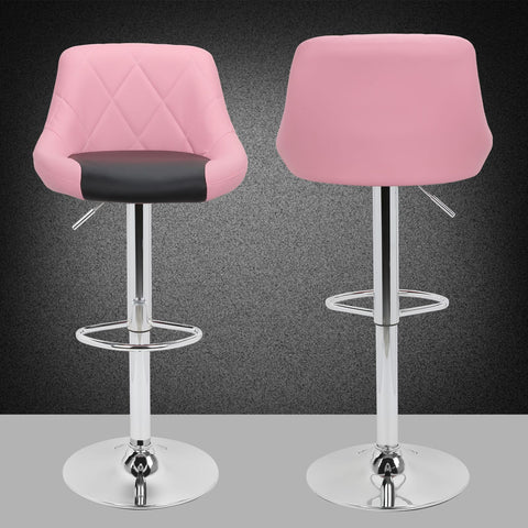 2pc Classic Adjustable 360 Swivel Pub Bar Stools with backs Faux Leather Counter Stools Kitchen Stools Black