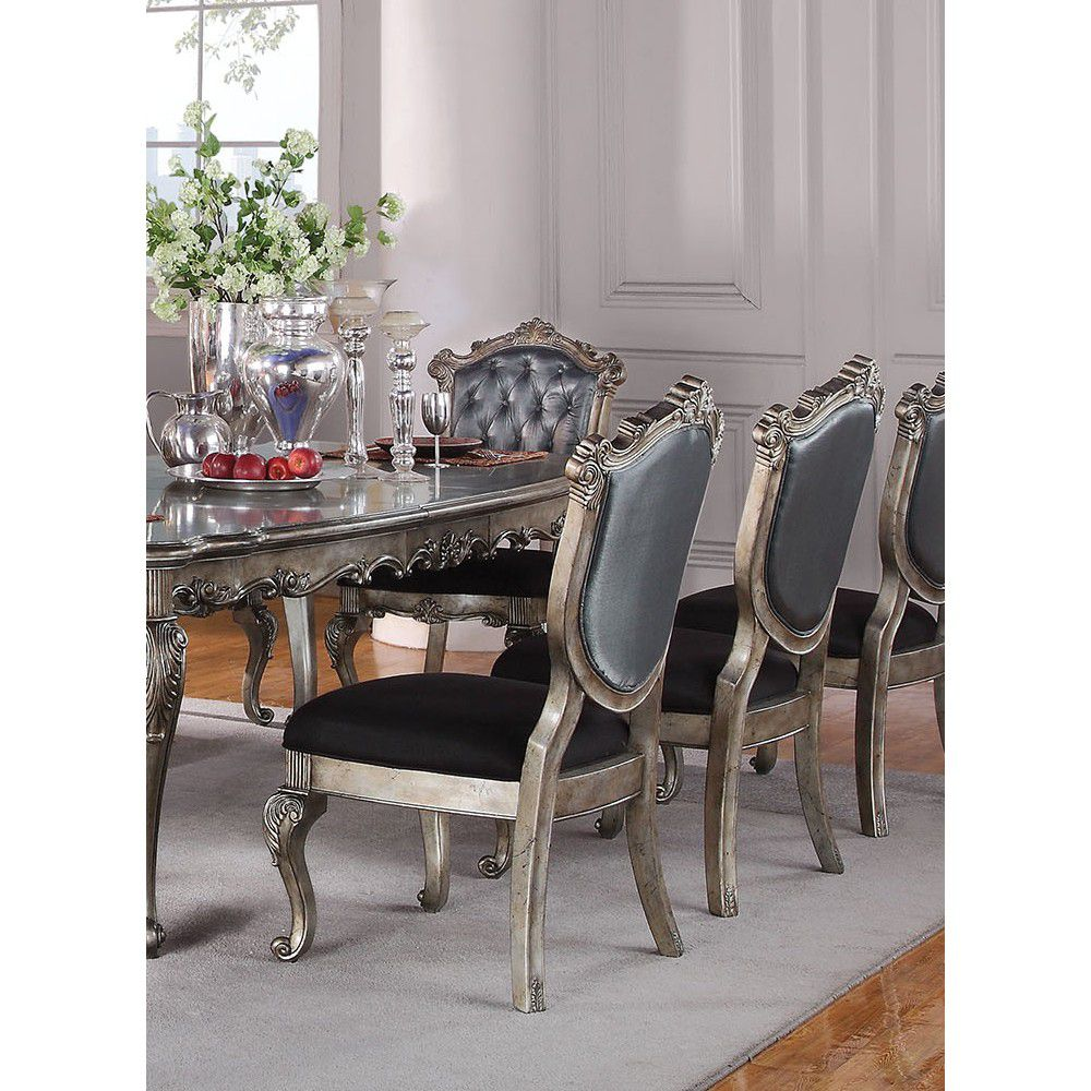 Dim Gray Luxurious Upholstered Tufted Back Dining Side Chairs in Silver Gray Silk-Like Fabric & Antique Platinum - 2 Counts BH60542