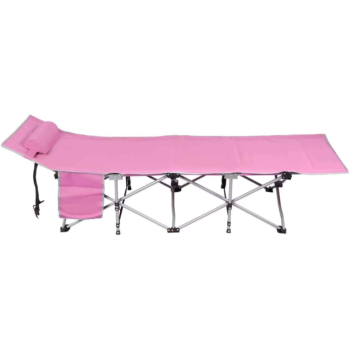 Plum Folding Sleeping Camping Cot 450 lbs Max, Bed w/Pillow and Side Pocket Portable Design Comfort Small Collapsing Sleeping Bed- Outdoor Traveling Picnic for Adults