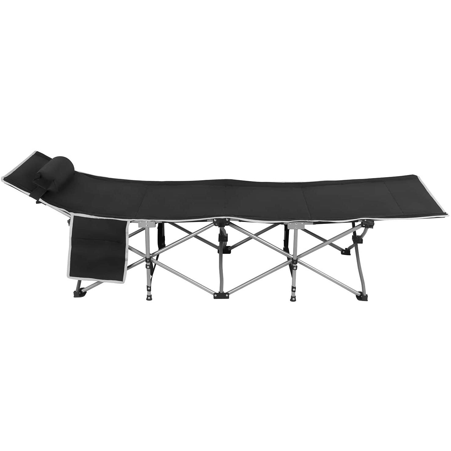 Dark Slate Gray Folding Sleeping Camping Cot 450 lbs Max, Bed w/Pillow and Side Pocket Portable Design Comfort Small Collapsing Sleeping Bed- Outdoor Traveling Picnic for Adults