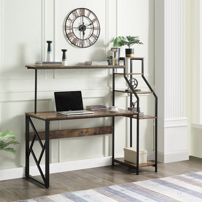 Computer Desk with Hutch and Shelf /Writing Study Table with 5 Tier Bookshelves/Multipurpose PC Workstation Brown Home Office