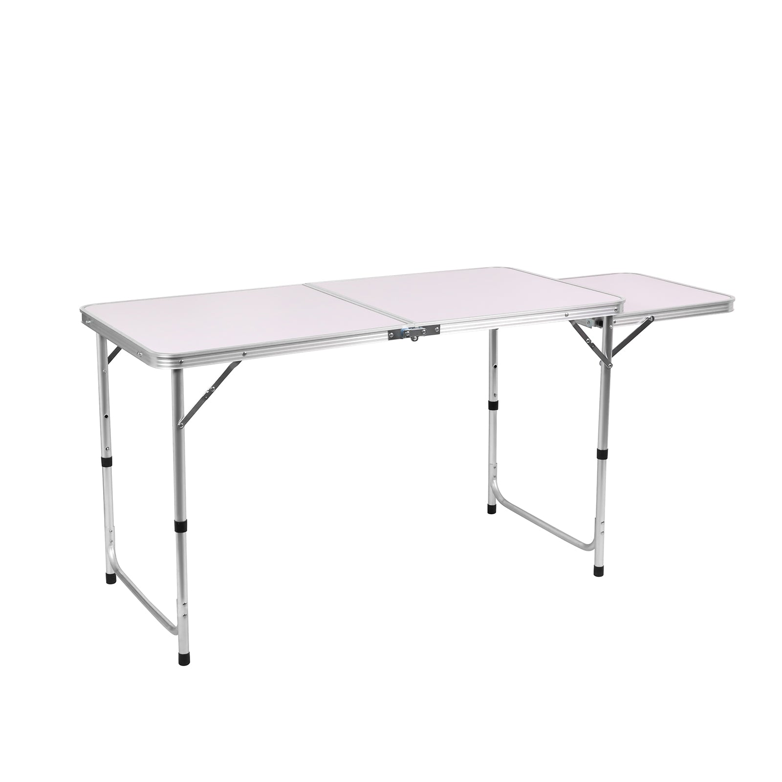 Folding Camping Picnic Table w/Extended Panel, Compact Aluminum Lightweight Picnic Table Multi-Function BBQ Food Preparation Outdoor Indoor Kitchen Utility Table