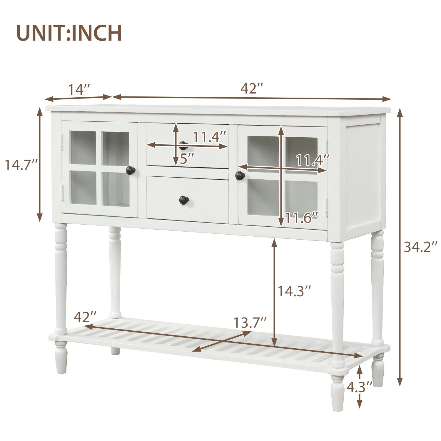 Beige Sideboard Console Table with Bottom Shelf, Farmhouse Wood/Glass Buffet Storage Cabinet Living Room BH193444