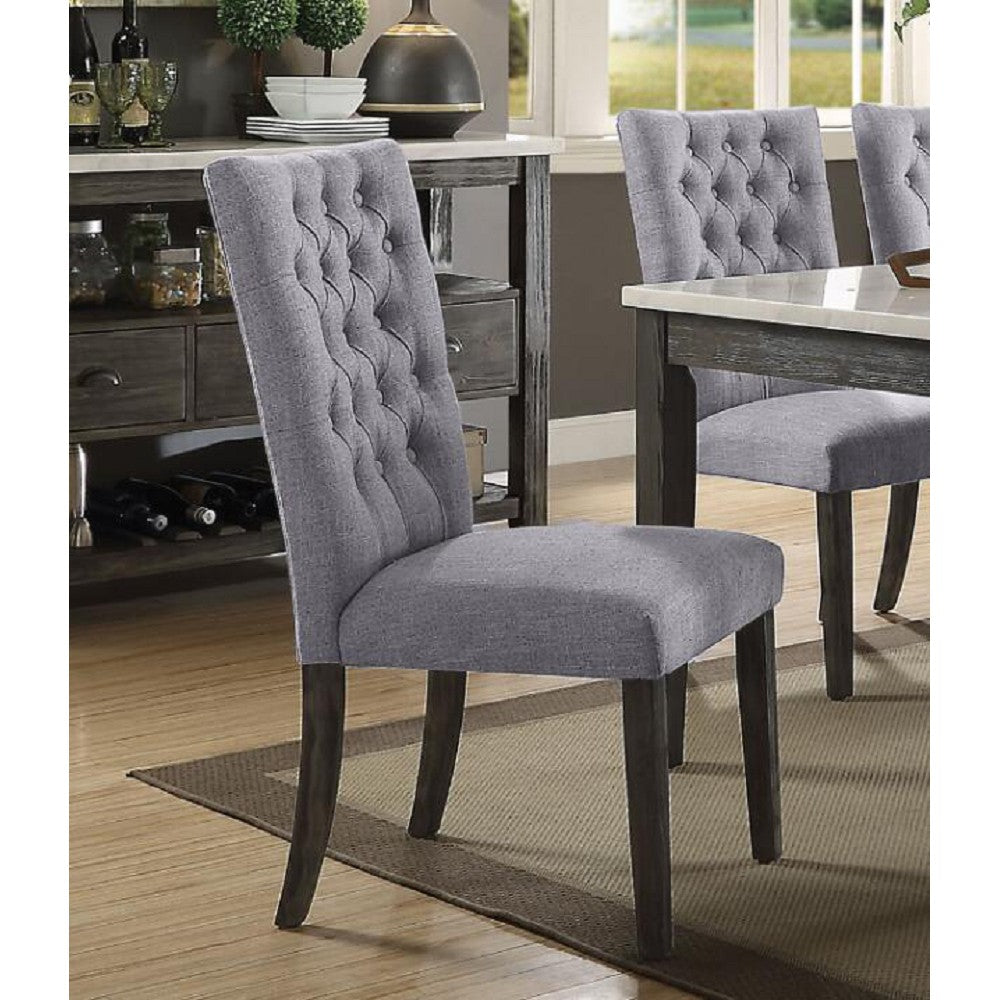 Tufted Back Upholstered Armless Dining Side Chairs in Gray Fabric & Gray Oak - 2 Counts