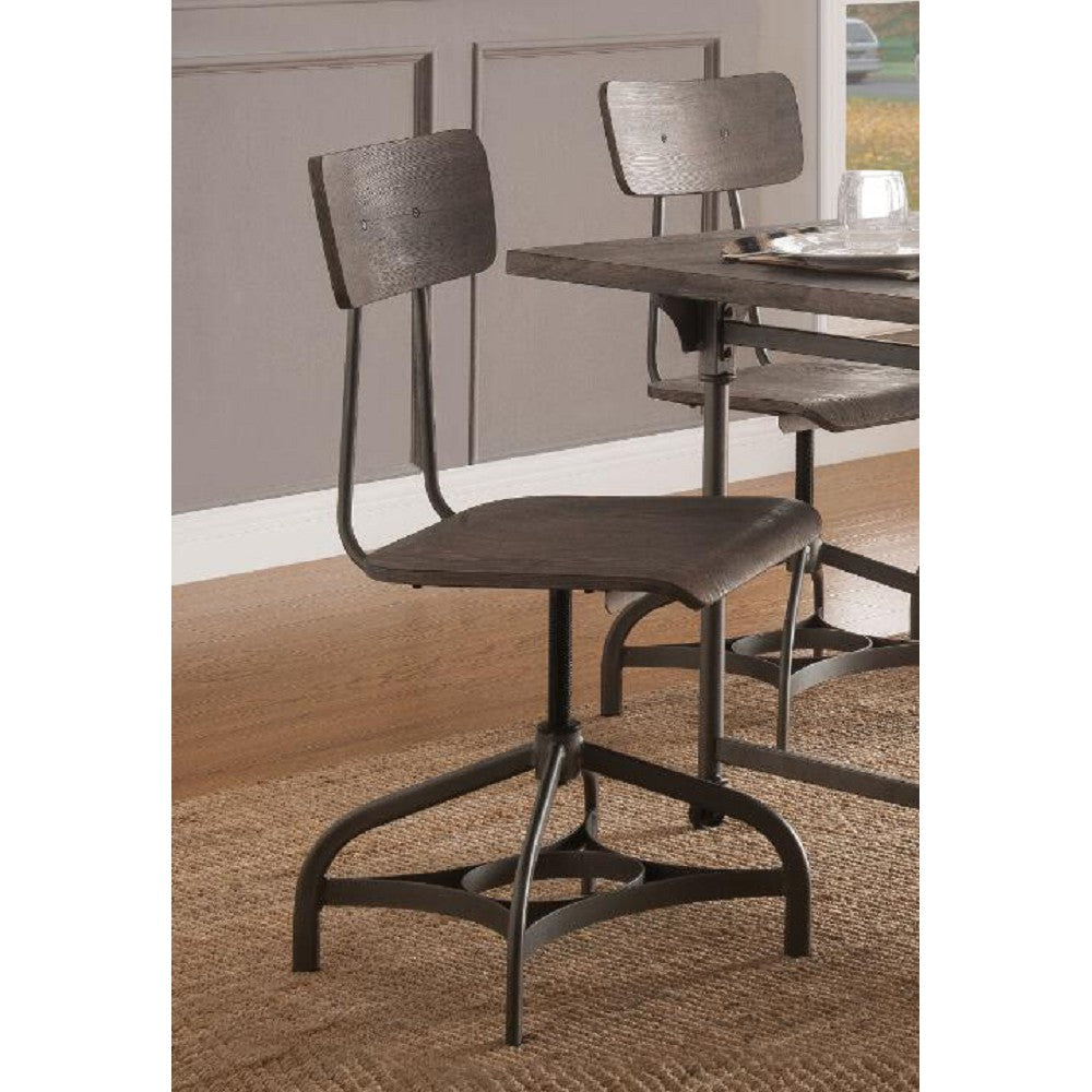 Adjustable Height Side Chair With Swivel Seat in Gray Oak & Sandy Gray - Set Of 2