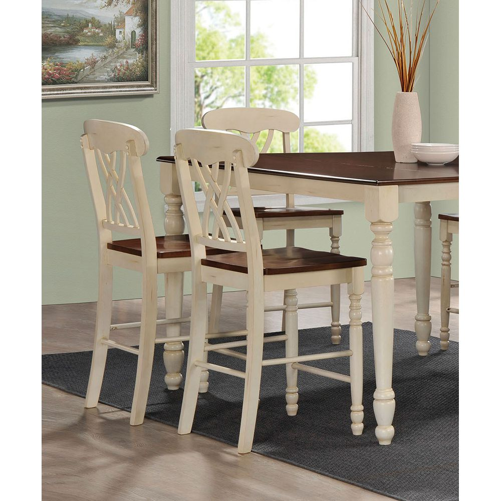Rosy Brown Hollow Back Counter Height Chairs in Buttermilk & Oak - 2 Counts BH70432