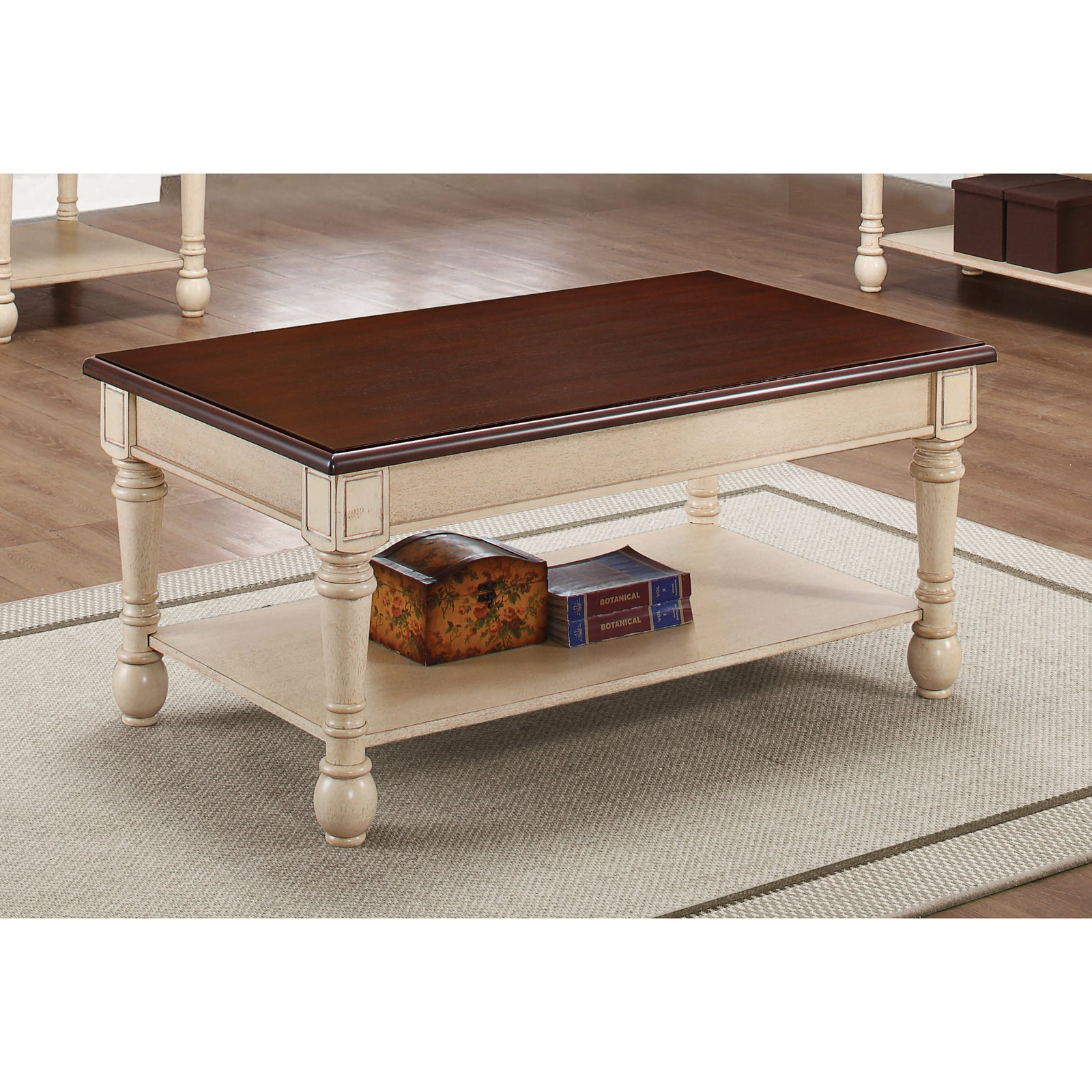 Coaster 704418 | Rectangular Coffee Table Side Desk With Lower Shelf Dark Brown And Antique White