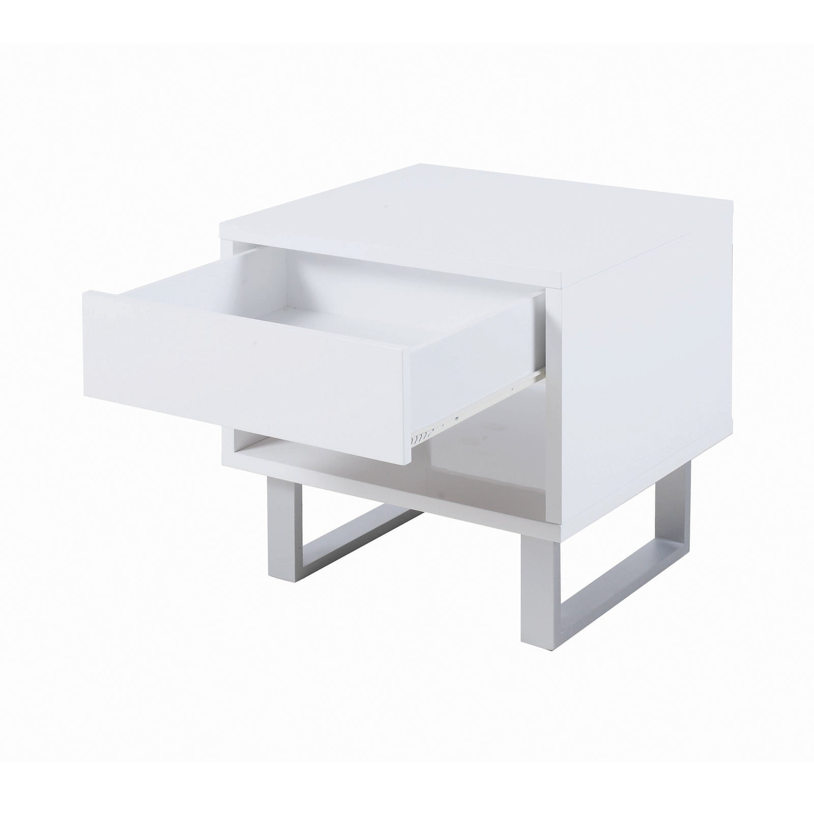 Coaster 705697 | 1-Drawer U-shaped Legs End Table High Glossy White Light Finish Top