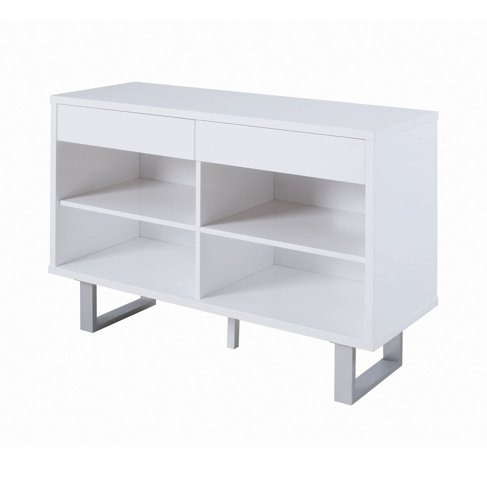 Coaster 705699 | 2-Drawer Open Shelves Sofa Table High Glossy White