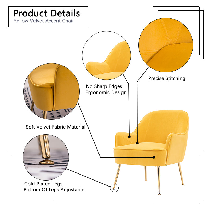 Goldenrod Velvet Accent Chair With Gold Metal Legs BH5272484 BHW5272815