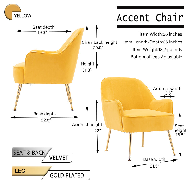Sandy Brown Velvet Accent Chair With Gold Metal Legs BH5272484