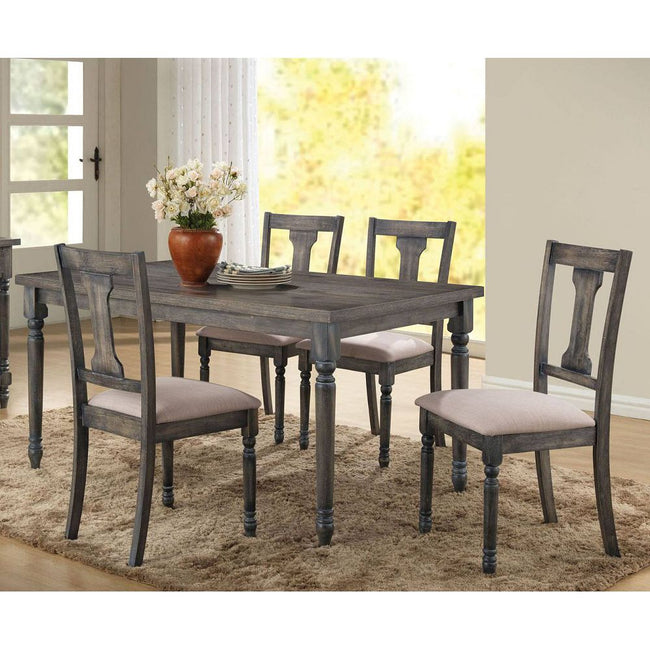 Contemporary Rectangular Wood Dining Table in Weathered Gray BH71435