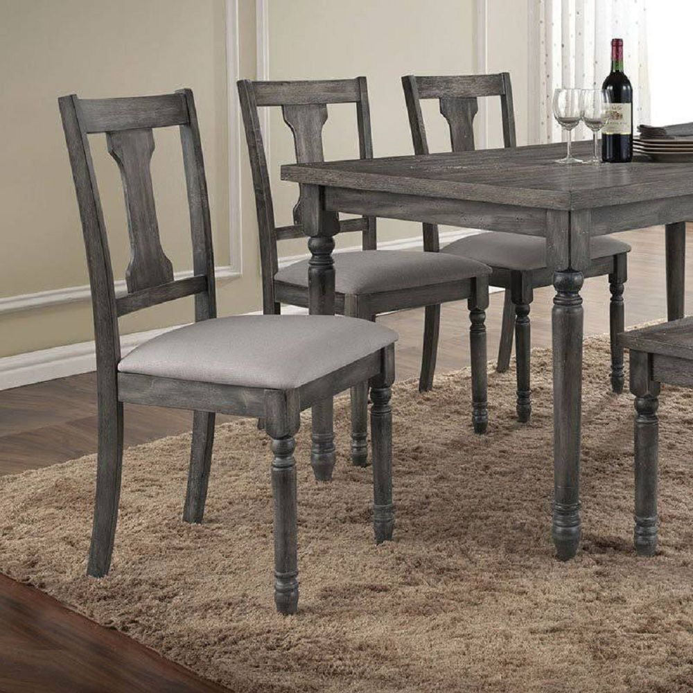 Dark Gray Wooden Hollow Backrest Armless Side Chairs in Tan Linen & Weathered Gray Set Of 2 BH71437