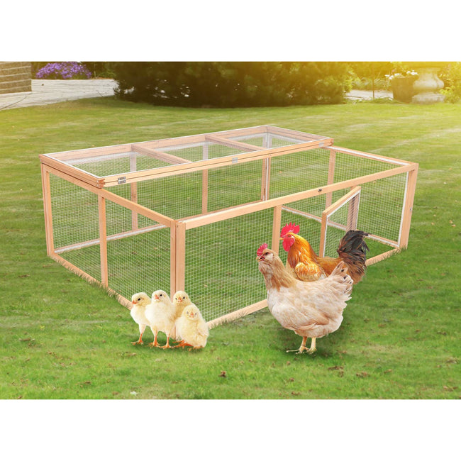 Dark Khaki Wooden Outdoor Chicken Coop