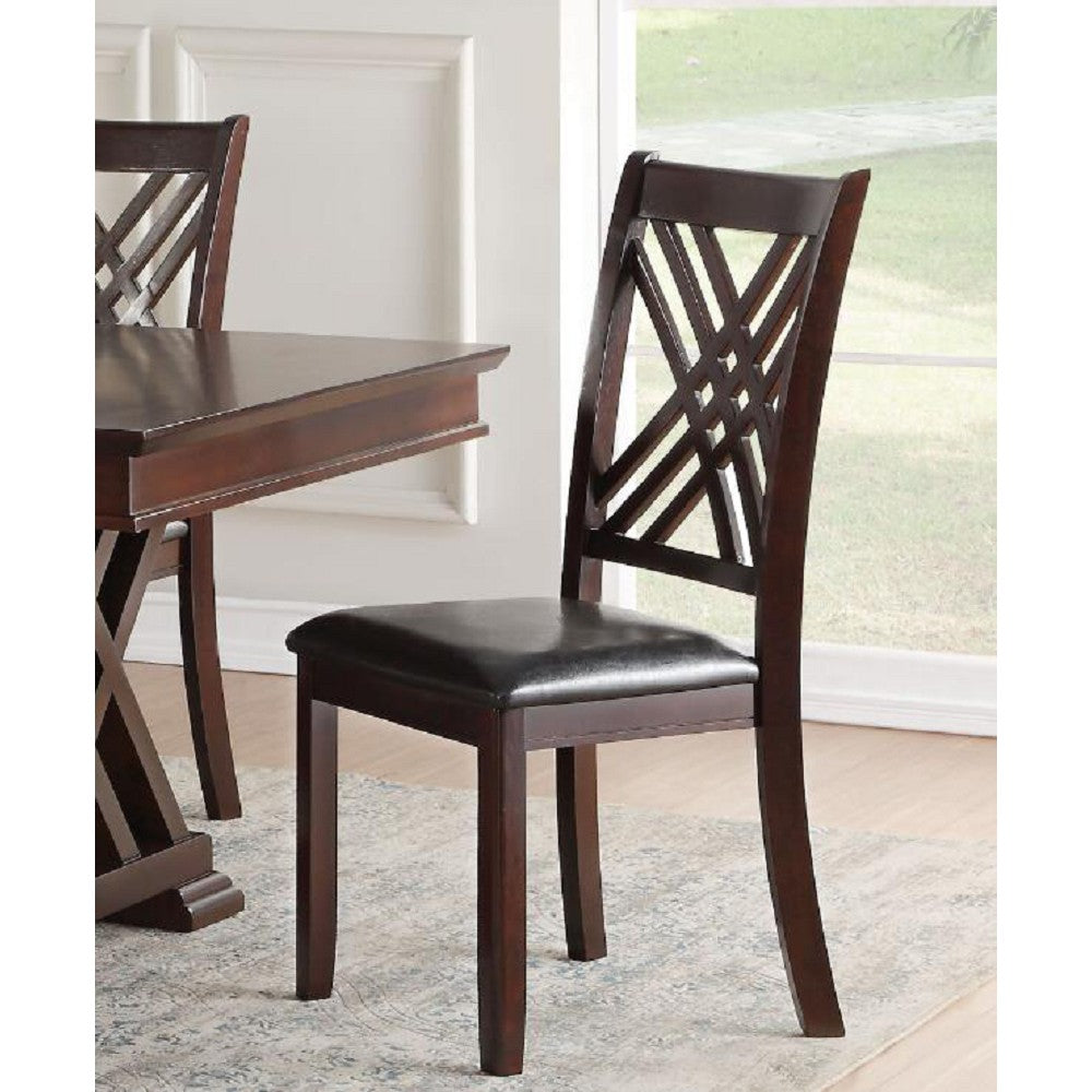 Gray Hollow Back Side Chair Dining Room in Black PU & Espresso - Set Of 2 BH71857