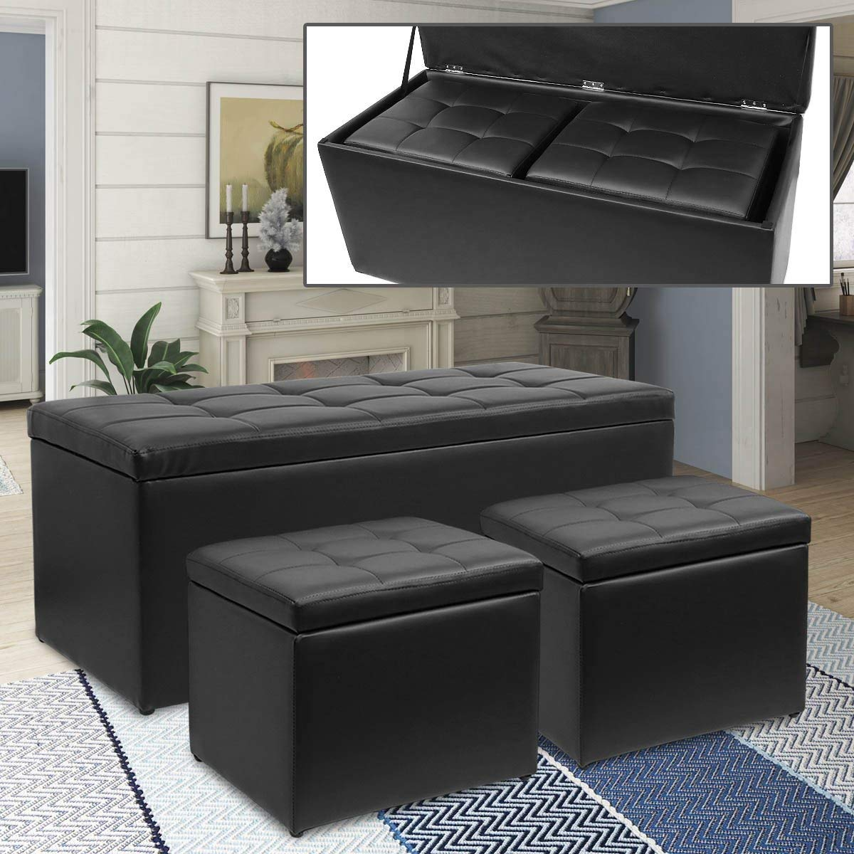 Rectangular PU Leather Storage Ottoman Bench Tufted Footrest with Cube Ottomans Set of 3