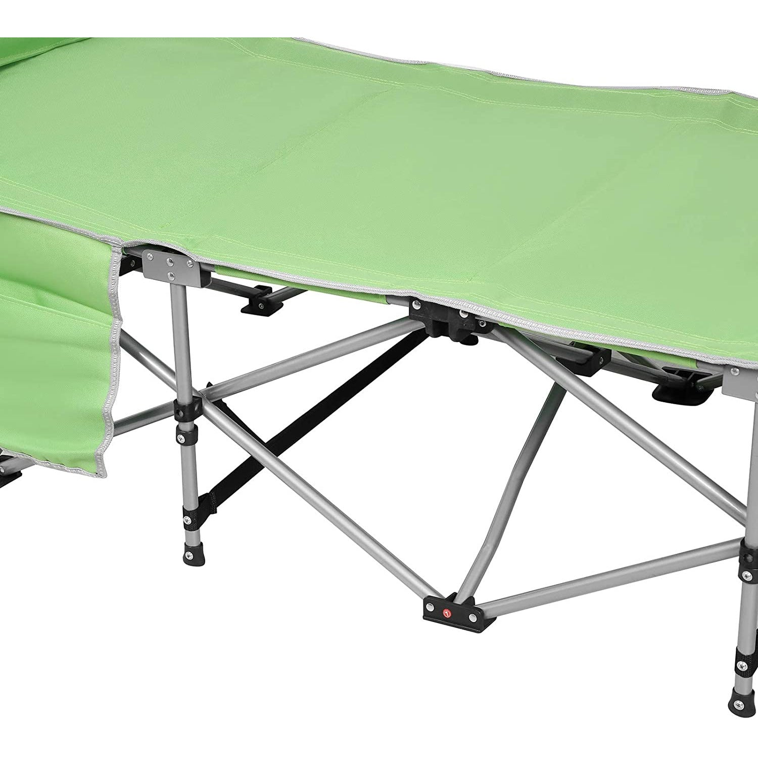 Light Green Folding Sleeping Camping Cot 450 lbs Max, Bed w/Pillow and Side Pocket Portable Design Comfort Small Collapsing Sleeping Bed- Outdoor Traveling Picnic for Adults