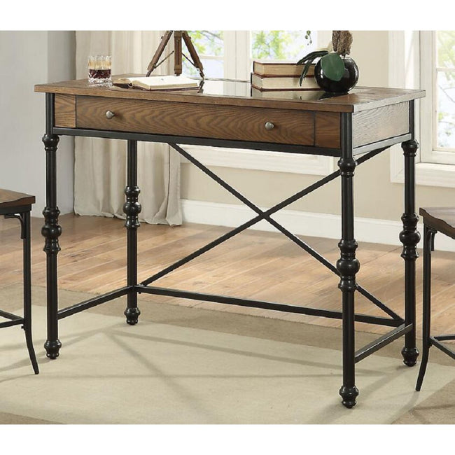 Rectangular Counter Height Table w/Metal Spindle Legs in Walnut & Black BH72350