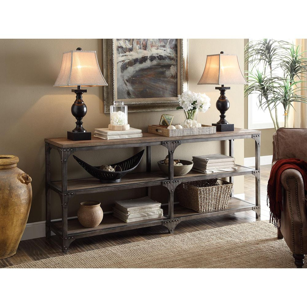 Black Rectangular Console Table Sofa Table With Two Shelves And Open Storage BH72680