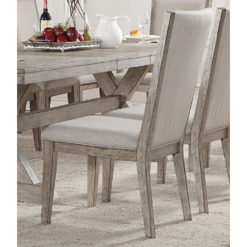 Dim Gray Upholstered Side Chairs Dining Room in Fabric & Gray Oak Set Of 2 BH72862 BH72863