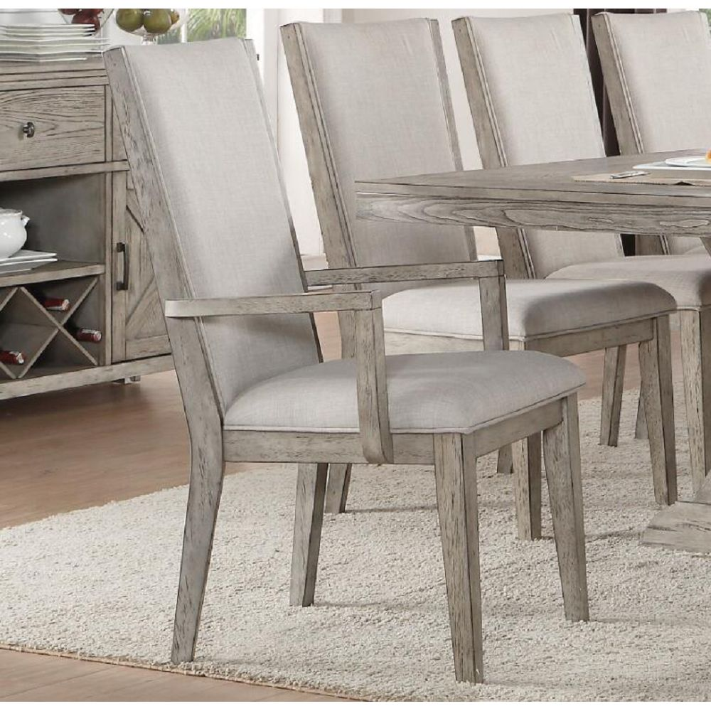 Rosy Brown Upholstered Side Chairs Dining Room in Fabric & Gray Oak Set Of 2 BH72862 BH72863