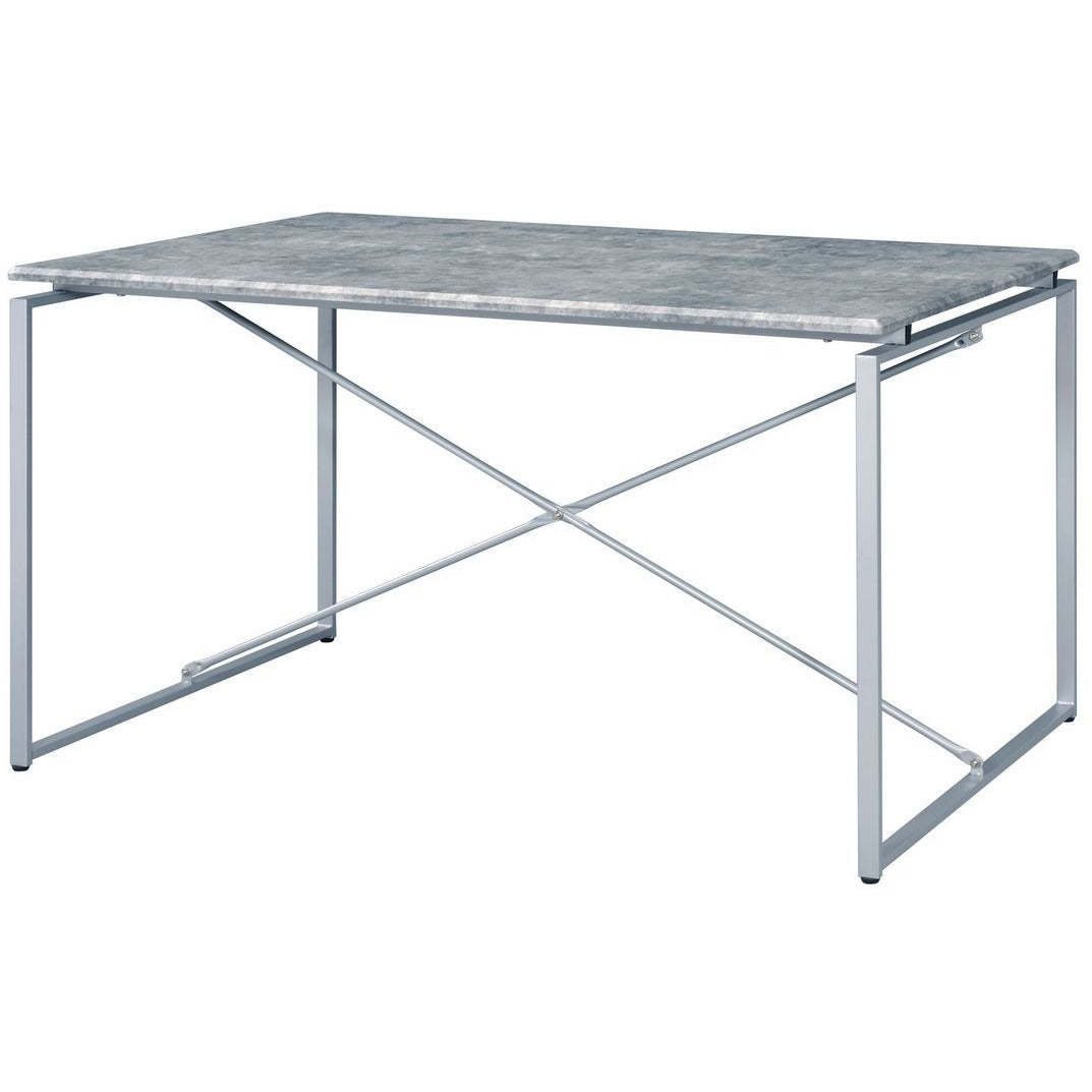 Dark Gray Rectangular Sled Dining Table Faux Concrete & Silver BH72905