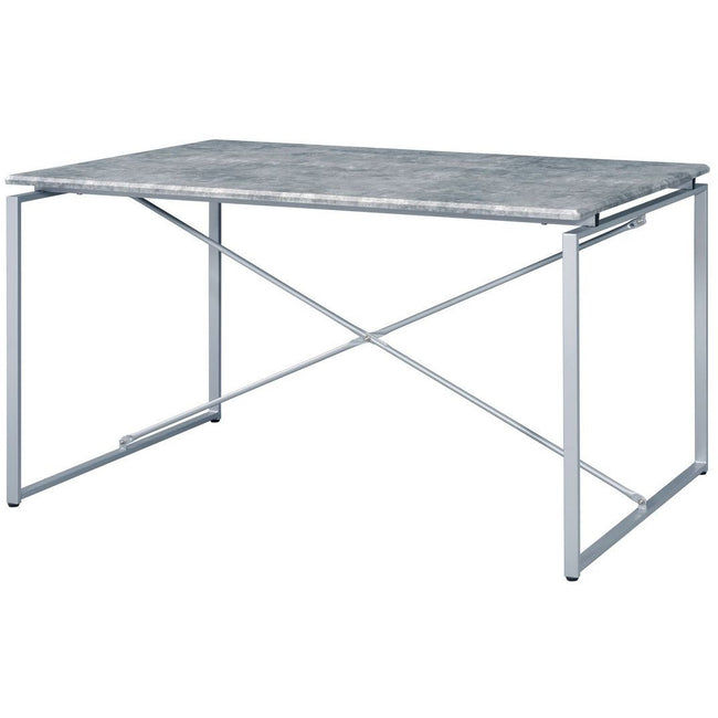 Rectangular Sled Dining Table Faux Concrete & Silver BH72905