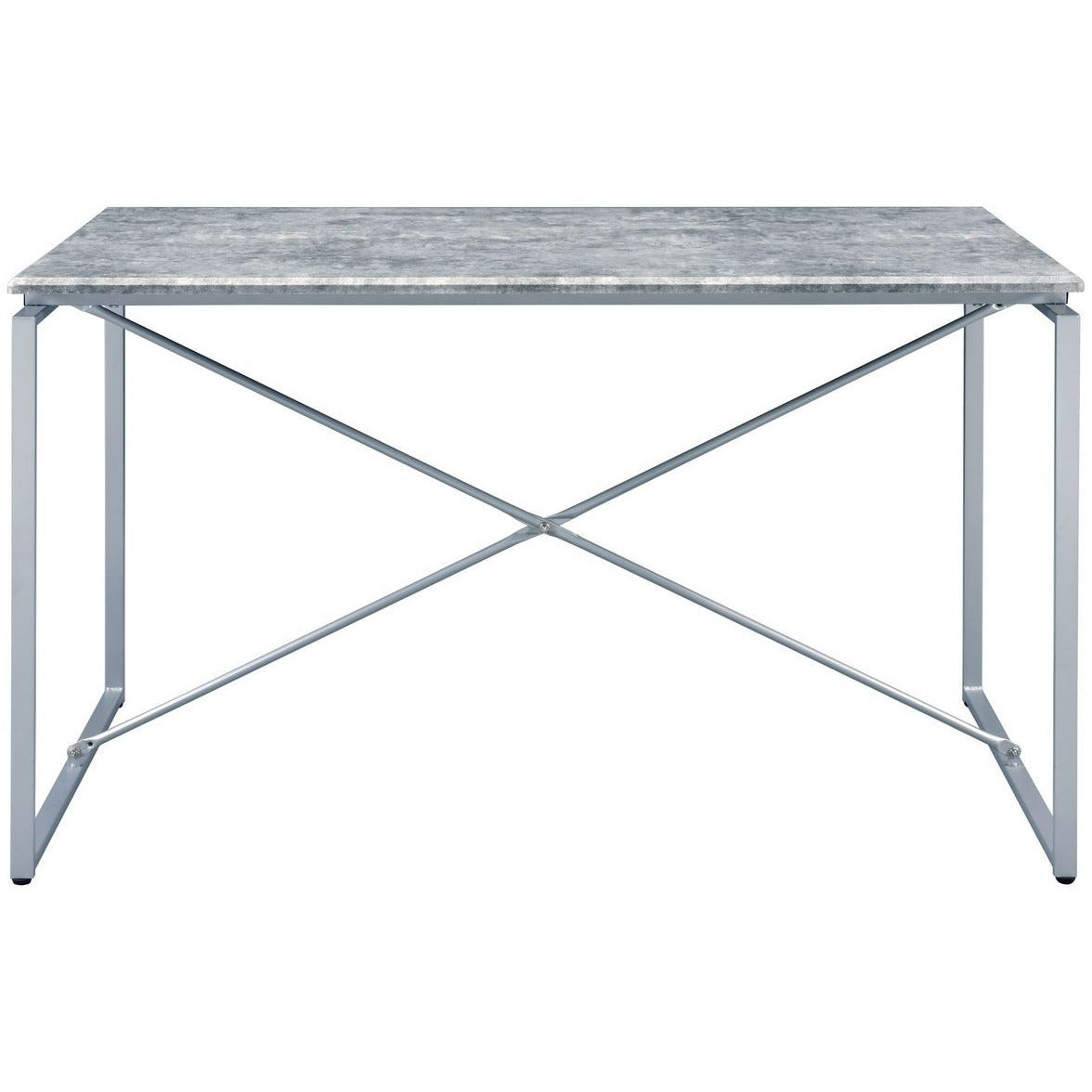 White Smoke Rectangular Sled Dining Table Faux Concrete & Silver BH72905