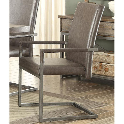Upholstered High Back Nailhead Dining Chairs Side Chairs  in Silver PU & Antique Platinum - 2 Counts BH66822