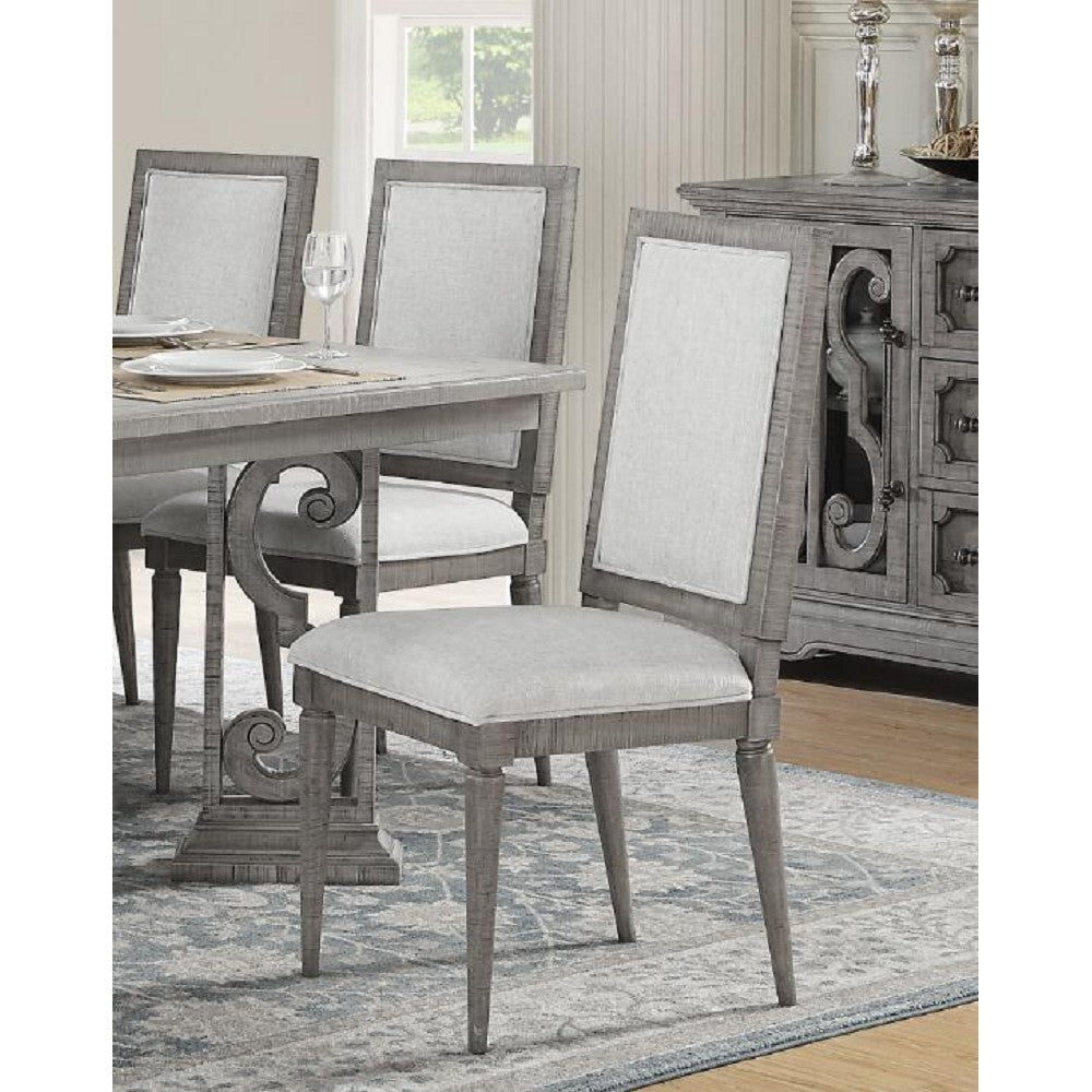 Padded Seat & Back Side Chairs Dining Room in Fabric & Salvaged Natural - Set Of 2 BH77092