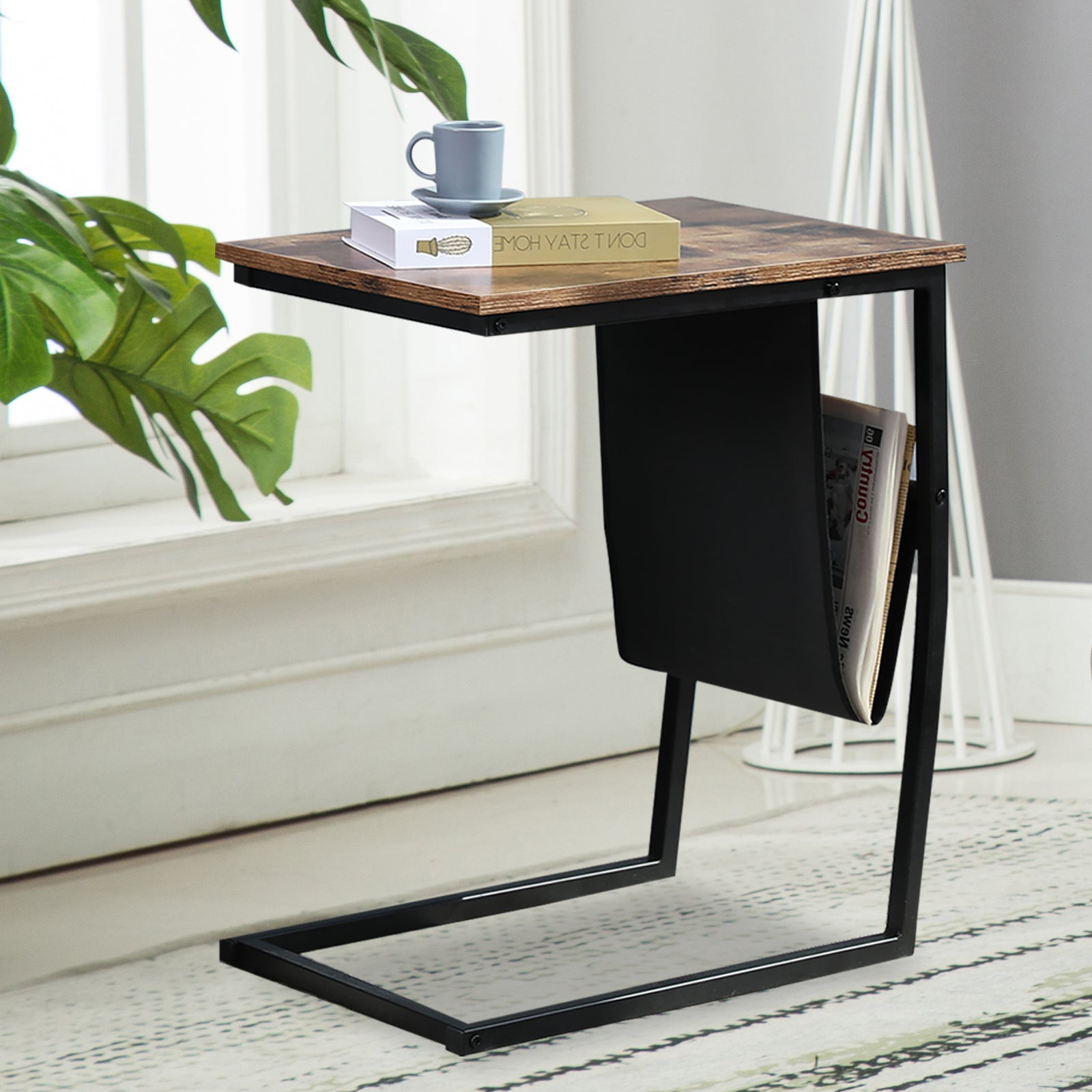 Black Industrial Side Table With Metal Frame Mobile Snack Table for Coffee Laptop Tablet BH50124965