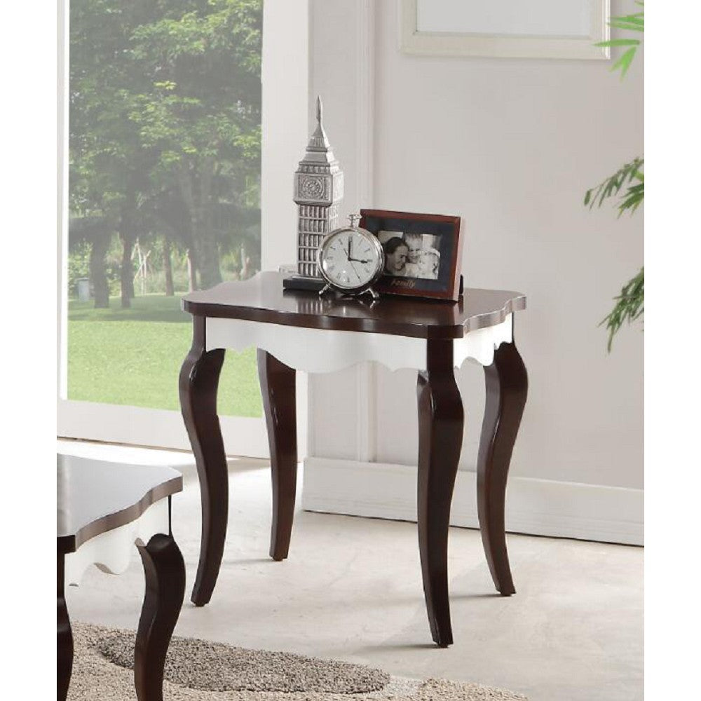 Curved Leg End Table Side Desk Nightstand Bedroom in Walnut & White BH80682