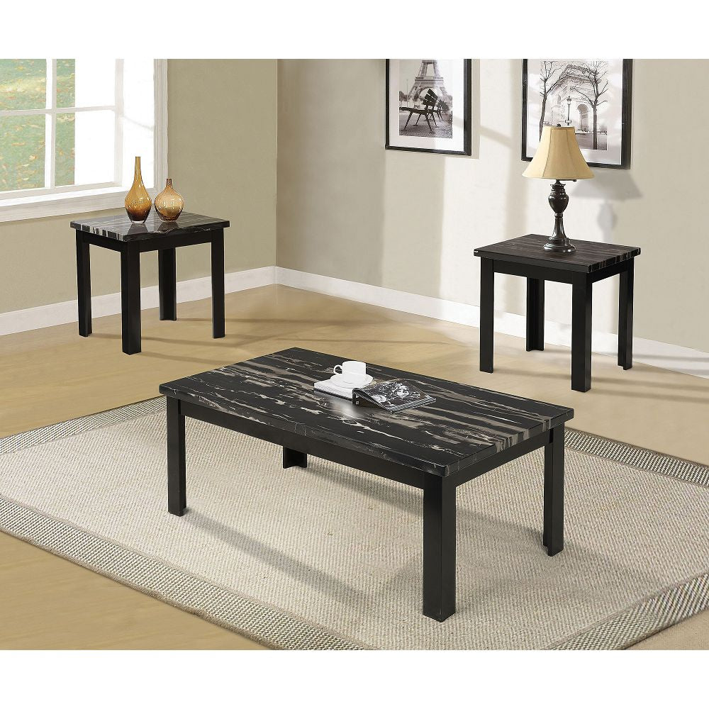 Occasional Coffee/End Table Set Sides Desk in Faux Marble & Black - 3 Count