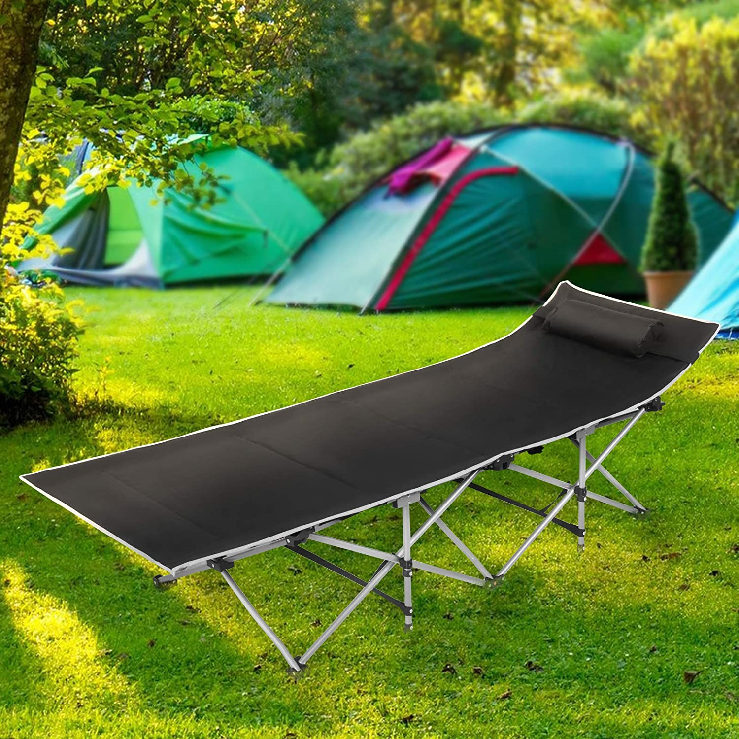 Yellow Green Folding Sleeping Camping Cot 450 lbs Max, Bed w/Pillow and Side Pocket Portable Design Comfort Small Collapsing Sleeping Bed- Outdoor Traveling Picnic for Adults