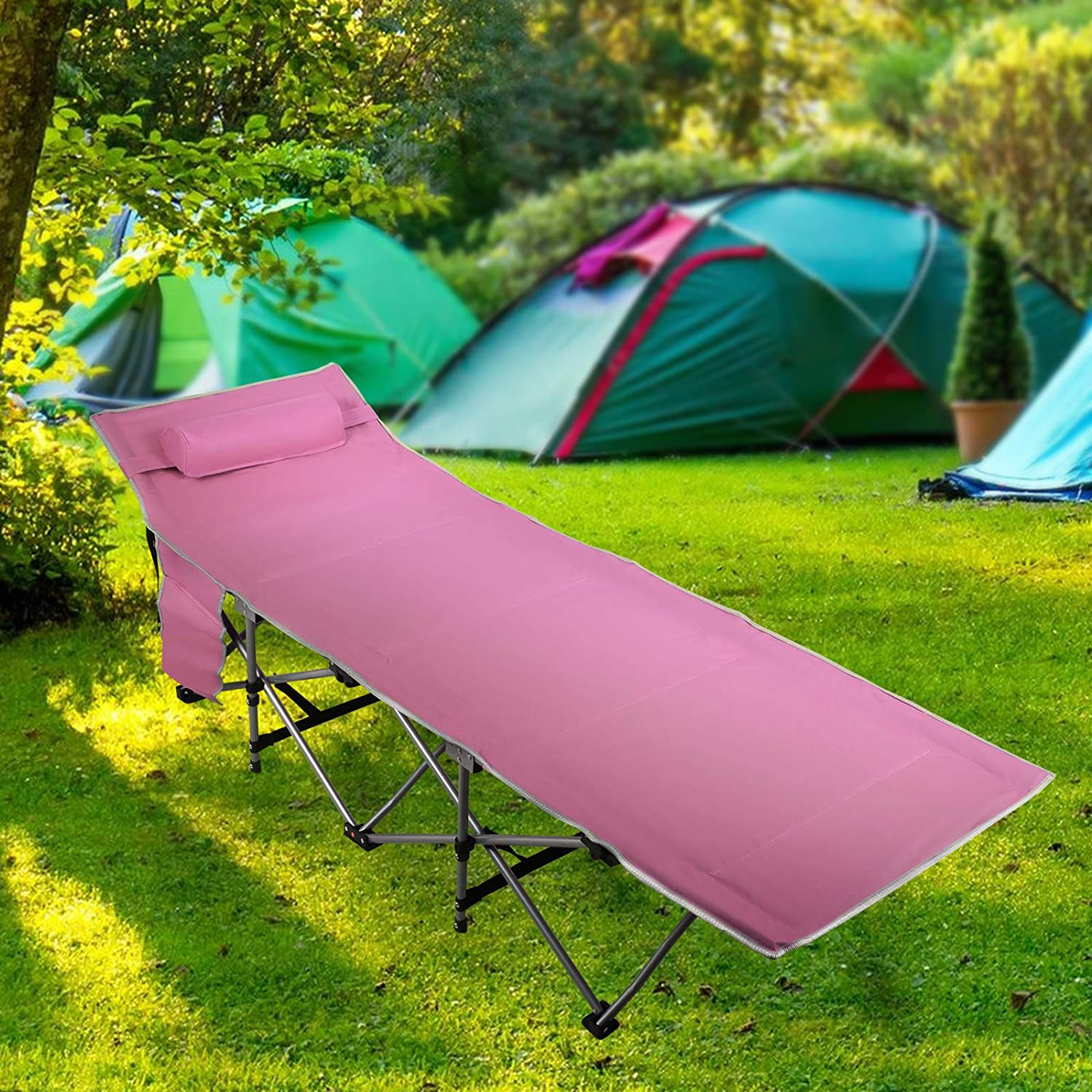 Pale Violet Red Folding Sleeping Camping Cot 450 lbs Max, Bed w/Pillow and Side Pocket Portable Design Comfort Small Collapsing Sleeping Bed- Outdoor Traveling Picnic for Adults