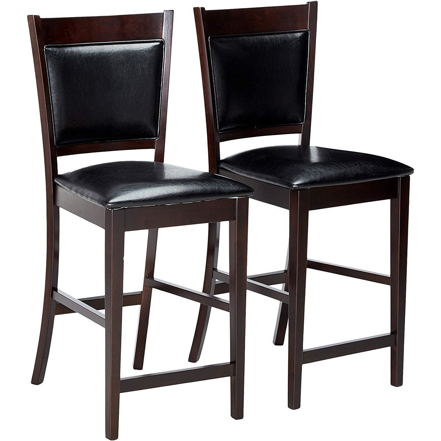 Coaster 100959 | Set Of 2 Upholstered Seat and Back Counter Height Stools Dining Chairs With Footrest
