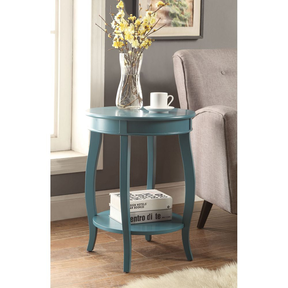 "18"" D Round Top Side Table With Bottom Shelf Teal"