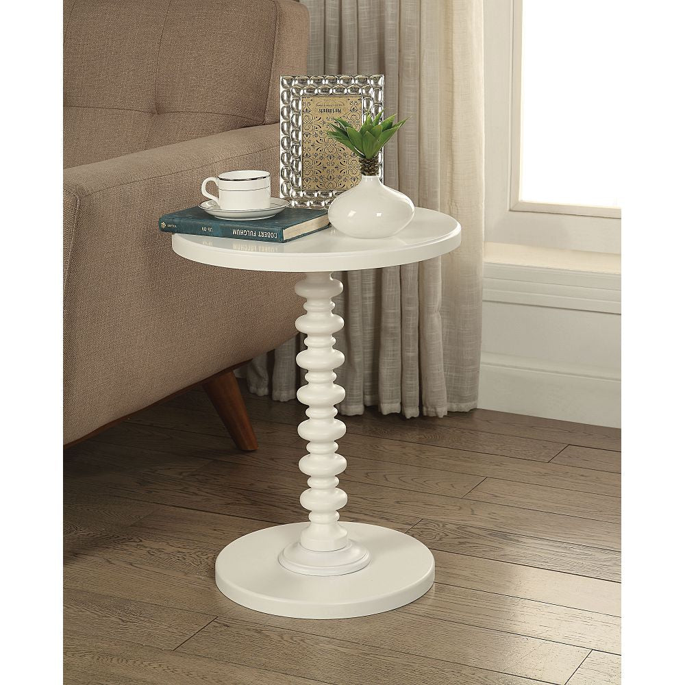 "17"" D Round Pedestal Side Table Bedroom White"
