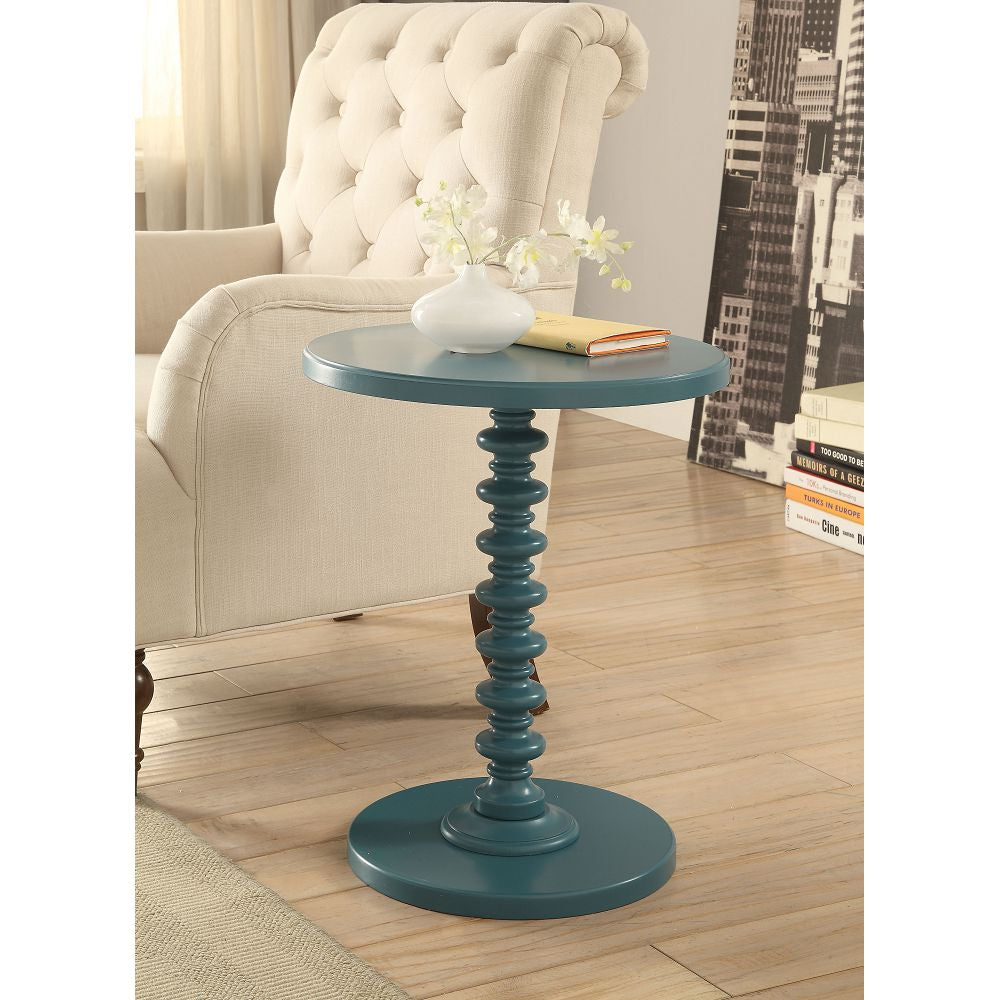 "17"" D Round Pedestal Side Table Bedroom Teal"