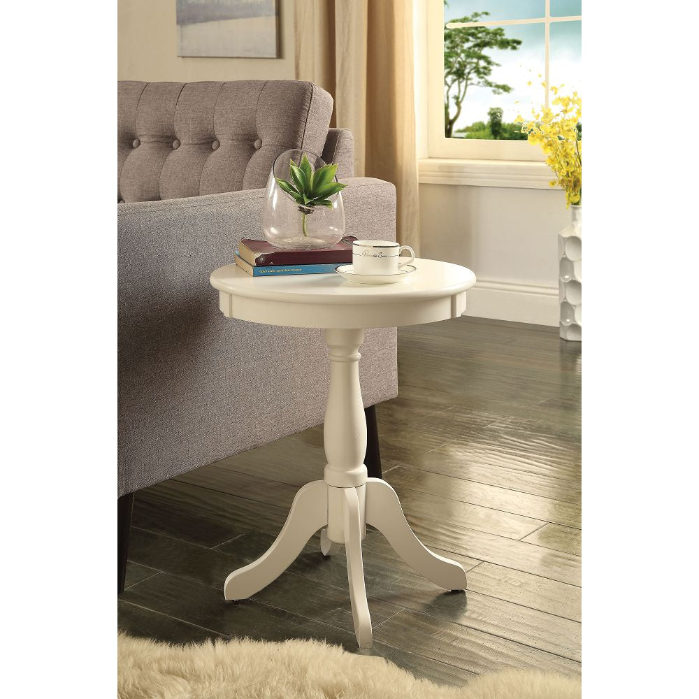 "18"" D Round Side Table Turned Pedestal Base w/4 Legs White"