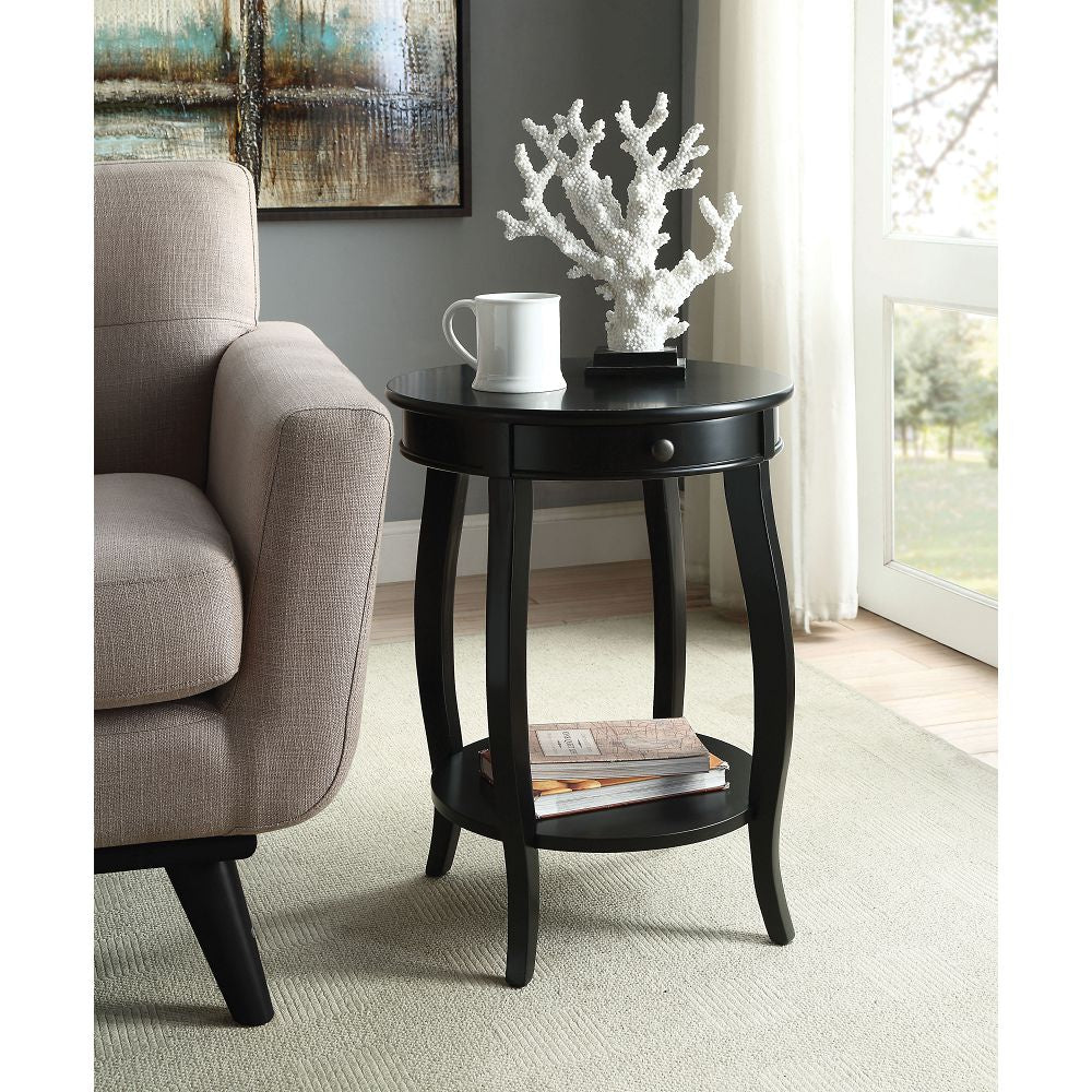 Alysa Bedroom End Table With Shelf in Black BH82812