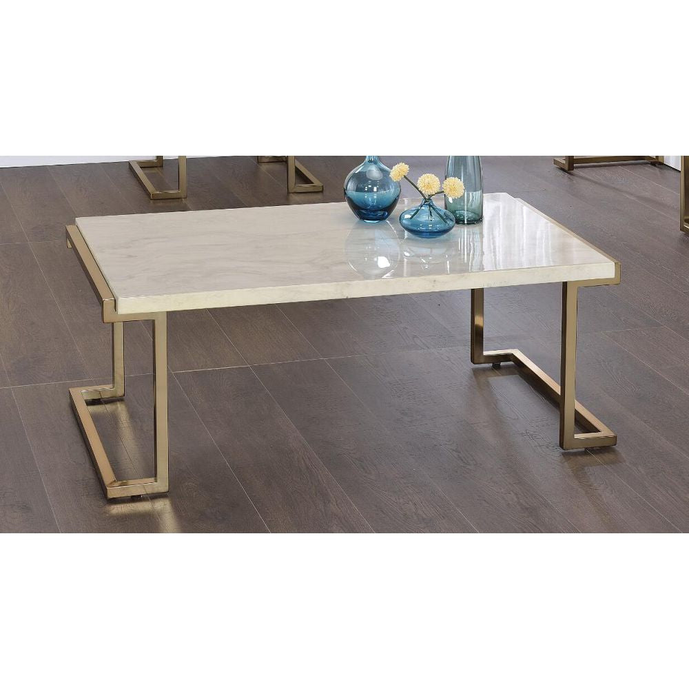 Gray Rectangular Coffee Table For Living Room With Metal Base in Faux Marble & Champagne BH82870