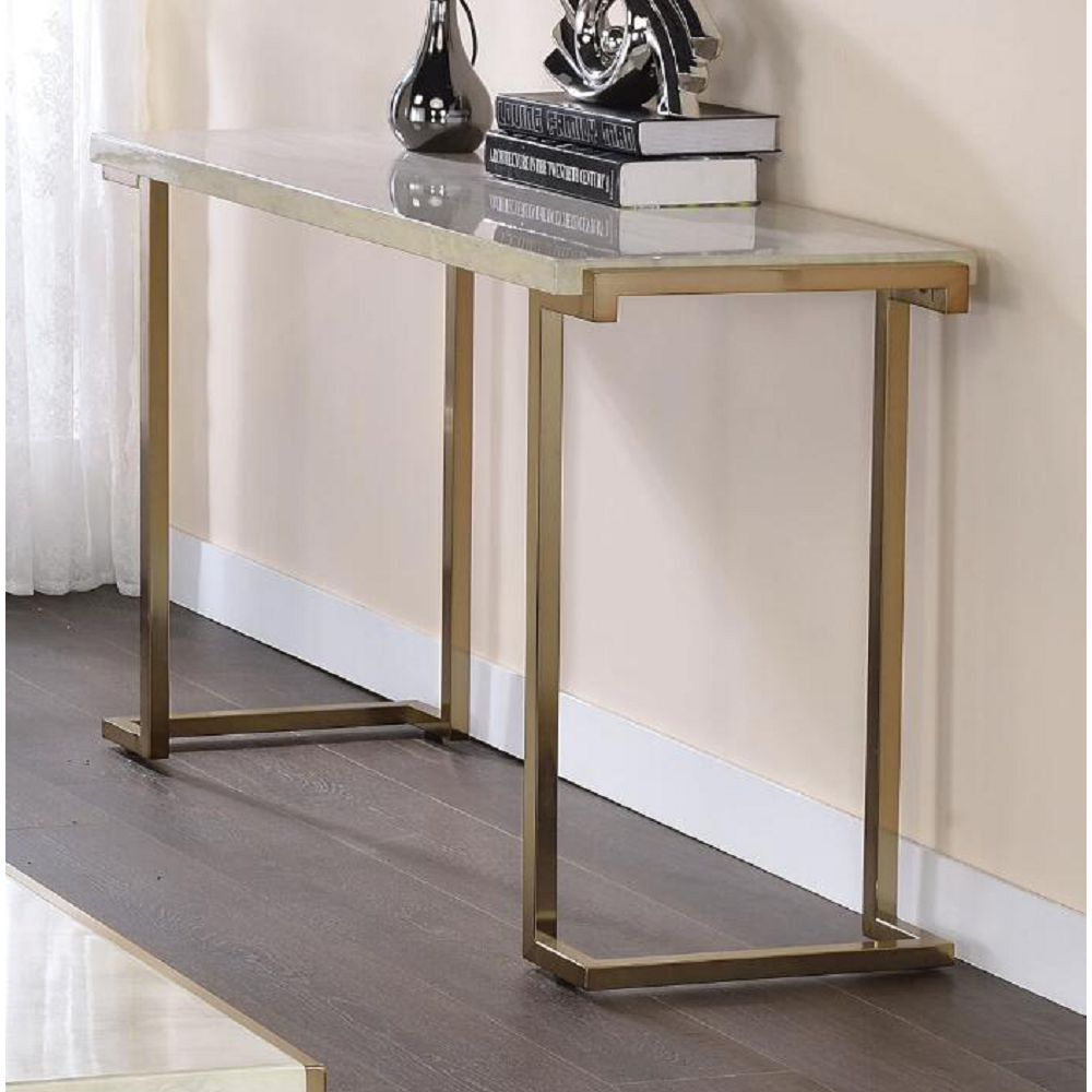 Gray Faux Marble Top Sofa Table With Champagne Metal Base Living Room BH82873