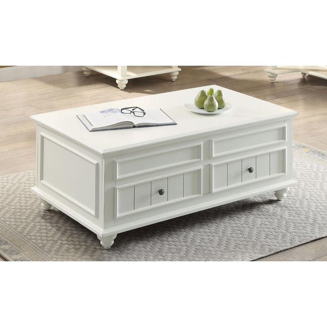 Natesa Rectangular Coffee Table w/Lift Top & 2 Drawers in White Washed BH83325