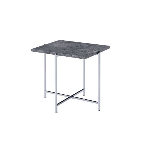 End Table With Metal Base Faux Marble & Chrome